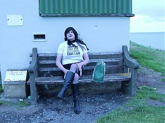 Crossdressed outdoors and talking dirty