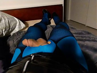 Blue pantyhose and fishnet