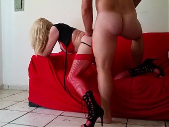 Blonde Amateur Tgirl In Fishnets Gets Fucked