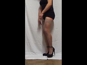 crossdresser hand job cum in high heels